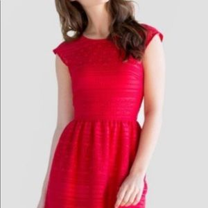 BUTTONS RED LACE FIT N FLARE DRESS
